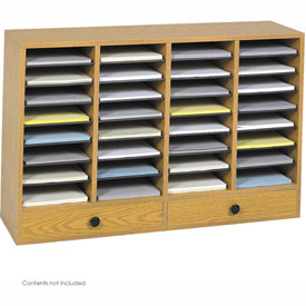 32 Compartment Adjustable Literature Organizer w/ Drawer - Oak
