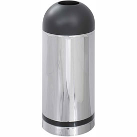 Reflective Open Top Dome Receptacle - Chrome/Black