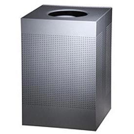 Rubbermaid® Silhouette SC22E Square Open Top Receptacle w/Liner, 40 Gallon - Silver Metallic