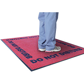 "NoTrax Do Not Disturb 3/8"" Thick Logo Floor Mat, 3' x 5' Red"