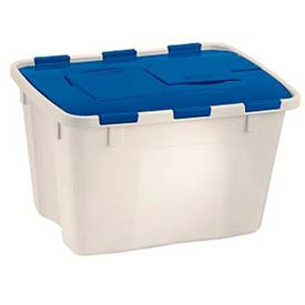 Suncast 18 Gallon Flip Top Container, 24x18x14-5/8, Clear w/Blue Lid, Price Each, Sold In Pack of 8 - Pkg Qty 8