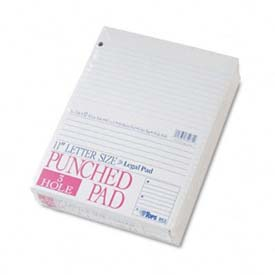 Three-Hole Punched Pad, Wide Ruled, 8-1/2 x 11, 50 Sheets/Pad, 12/Pk