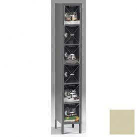 Tennsco C-Thru Box Locker CBL6-121812-1 216 - Six Tier w/Legs 1 Wide 12x18x12, Assembled, Putty