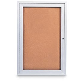 "United Visual Products 24""W x 36""H 1-Door Outdoor Enclosed Corkboard with Satin Aluminum Frame"