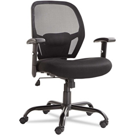 Alera® Big and Tall Mesh Chair - Swivel/Tilt - Mid Back - Black - Merix450 Series