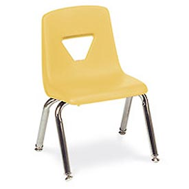 Virco® 2012 Small Plastic Classroom Chair, Yellow With Chrome Frame - Pkg Qty 4