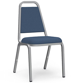 Virco® 8926 Domed Seat Straight Back Stack Chair, Chrome Frame/Blue Vinyl - Pkg Qty 4