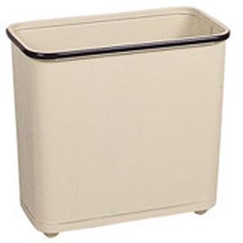 "Rectangular Wastebasket, Almond, 30 Quart, 17""W X 15""H X 8""D - Pkg Qty 3"