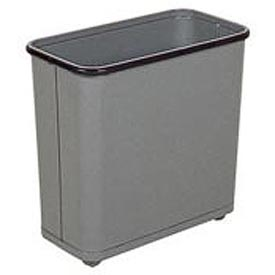 "Rectangular Wastebasket, Gray, 30 Quart, 17""W X 15""H X 8""D - Pkg Qty 3"