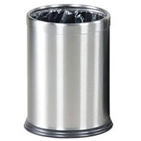 "Two-Piece Round Wastebasket, Stainless Steel, 3.5 gal., 9.5""Dia x 12.5""H"