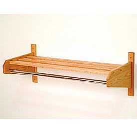 "25 3/4"" Hat & Coat Rack w/ Chrome Bar - Light Oak"