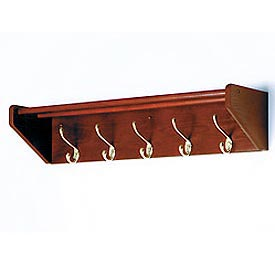 "32 3/4"" Hat & Coat Rack with 5 Brass Hooks - Mahogany"