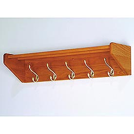 "32 3/4"" Hat & Coat Rack with 5 Brass Hooks - Medium Oak"