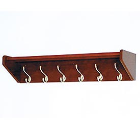 "36 3/4"" Hat & Coat Rack with 6 Brass Hooks - Mahogany"