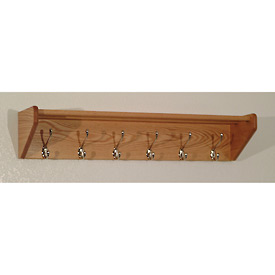 "36 3/4"" Hat & Coat Rack with 6 Nickel Hooks - Light Oak"