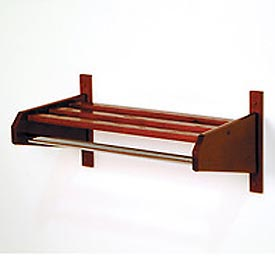 "37 3/4"" Coat and Hat Rack w/ 5/8"" Chrome Bar - Mahogany"