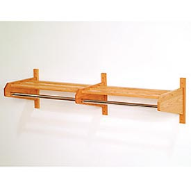 "49 3/4"" Double Hat & Coat Rack w/ 5/8"" Chrome Bar - Light Oak"