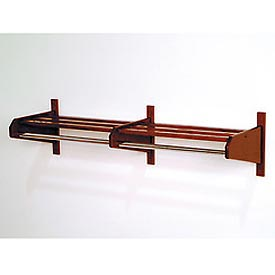 "49 3/4"" Double Hat & Coat Rack w/ Chrome Bar - Mahogany"
