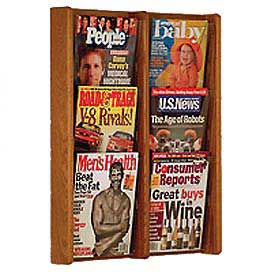 6 Pocket (2Wx3H) Acrylic & Oak Wall Display - Medium Oak