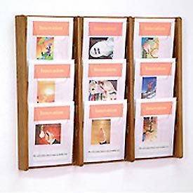 9 Pocket (3Wx3H) Acrylic & Oak Wall Display - Medium Oak