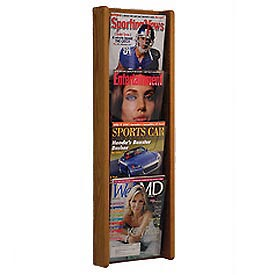 4 Pocket (4H) Acrylic & Oak Wall Display - Medium Oak