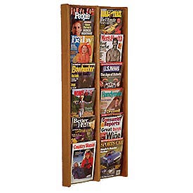 12 Pocket (2Wx6H) Acrylic & Oak Wall Display - Medium Oak