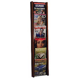 6 Pocket (6H) Acrylic & Oak Wall Display - Mahogany