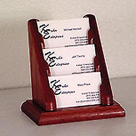 3 Pocket Counter Top Business Card Holder - Mahogany