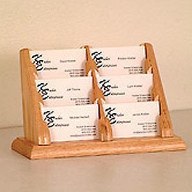 6 Pocket Counter Top Business Card Holder - Light Oak
