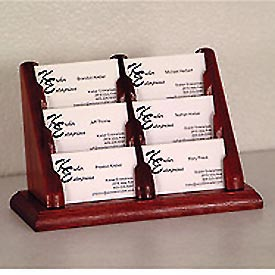 6 Pocket Counter Top Business Card Holder - Mahogany