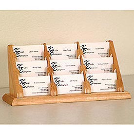 9 Pocket Counter Top Business Card Holder - Light Oak