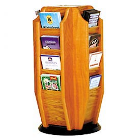 Countertop 16 Brochure Rotary Display - Medium Oak