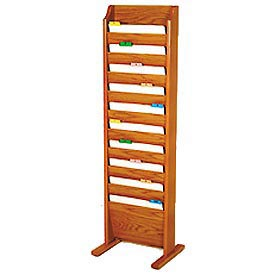 Free Standing 10 Pocket Chart Holder - Medium Oak