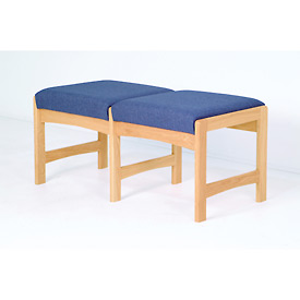Two Person Bench - Light Oak/Blue Vinyl