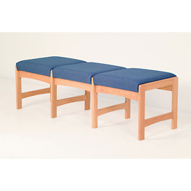 Three Person Bench - Mahogany/Blue Fabric