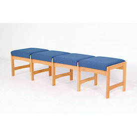 Four Person Bench - Light Oak/Blue Leaf Pattern Fabric