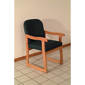 Single Sled Base Chair w/ Arms - Light Oak/Green Arch Pattern Fabric