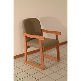 Single Sled Base Chair w/ Arms - Light Oak/Olive Arch Pattern Fabric