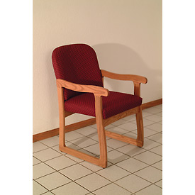 Single Sled Base Chair w/ Arms - Mahogany/Burgundy Arch Pattern Fabric