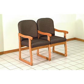 Double Sled Base Chair w/ Arms - Mahogany/Gray Arch Pattern Fabric