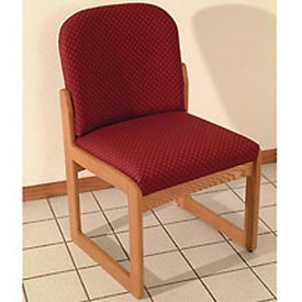 Single Sled Base Chair w/o Arms - Light Oak/Burgundy Arch Pattern Fabric
