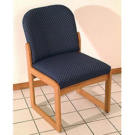 Single Sled Base Chair w/o Arms - Light Oak/Green Water Pattern Fabric