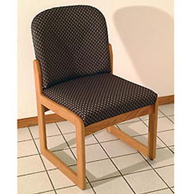 Single Sled Base Chair w/o Arms - Mahogany/Blue Arch Pattern Fabric