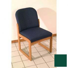 Single Sled Base Chair w/o Arms - Medium Oak/Green Vinyl