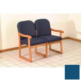 Double Sled Base Chair w/ End Arms - Medium Oak/Blue Vinyl