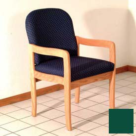 Single Standard Leg Chair w/ Arms - Light Oak/Green Vinyl