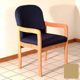 Single Standard Leg Chair w/ Arms - Mahogany/Cream Vinyl