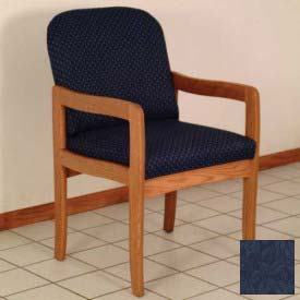 Single Standard Leg Chair w/ Arms - Medium Oak/Blue Leaf Pattern Fabric