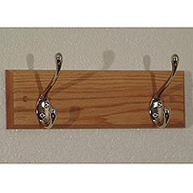 "12"" Coat Rack with 2 Nickel Hooks - Light Oak"