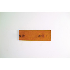 "12"" Coat Rack with 2 Wood Pegs - Medium Oak"